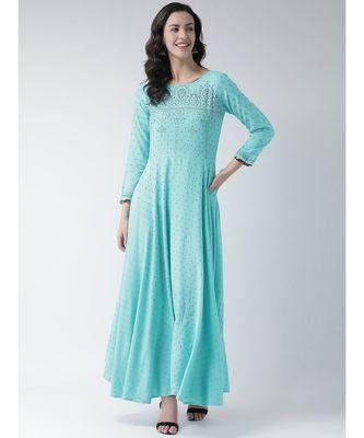 Women's Blue Rayon Calf Length Kurta