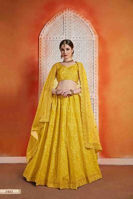 Yellow  Embroidered Art Silk Unstitched Lehenga
