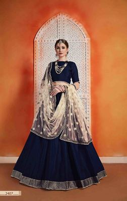 Navy Blue  Embroidered Art Silk Unstitched Lehenga