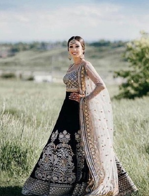 Black embroidered cotton semi stitched lehenga