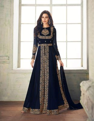Blue Embroidered Faux Georgette Anarakali With Dupatta