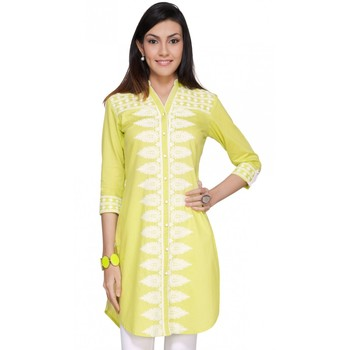 Lemon plain cotton kurtas-and-kurtis