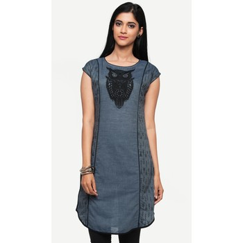 Blue embroidered denim kurtas-and-kurtis