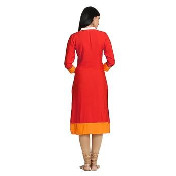 Red embroidered viscose kurtas-and-kurtis