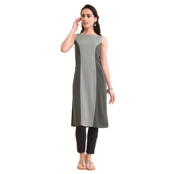 Grey plain rayon kurtas-and-kurtis