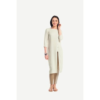 Cream plain rayon kurtas-and-kurtis