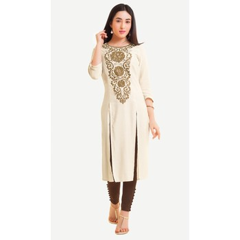 Cream embroidered viscose kurtas-and-kurtis