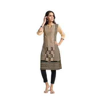 Beige embroidered cotton kurtas-and-kurtis