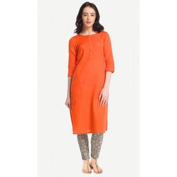 Orange plain rayon kurtas-and-kurtis