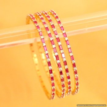 Embellished Diamond Look Ruby   Bangles