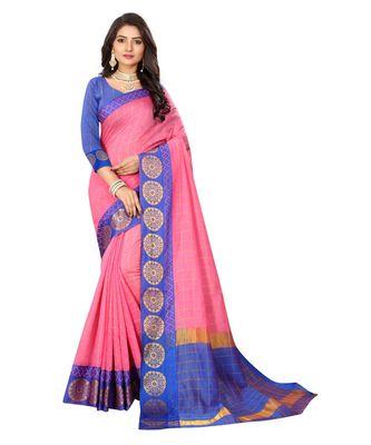 Women's Pink Checkered Chanderi Cotton Zari work Saree