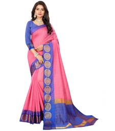 Women's Pink Checkered Chanderi Cotton Zari work Saree