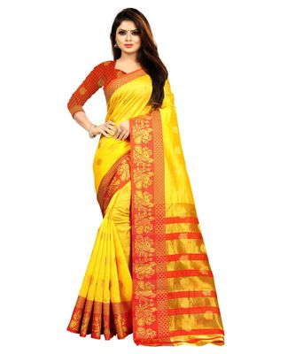 Women's Gold Banarasi Art Silk Zari work Saree