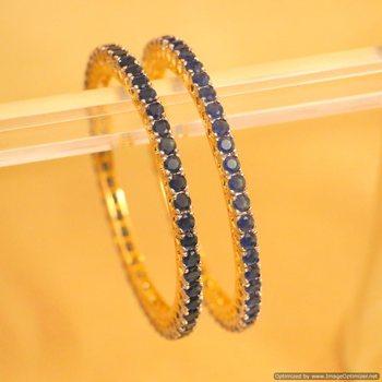 Embellished Gold Look Blue Sapphire Single Line Bangles
