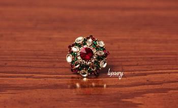 Maroon Green Kundan RING, Adjustable Handmade, Precious Stone Jewelry