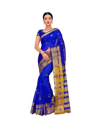 Women's Royal Blue Traditional Poly Silk Zari work Saree