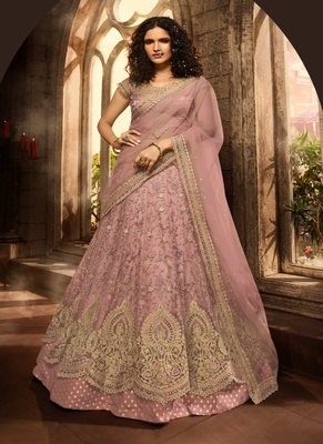 Mauve embroidered net semi stitched lehenga