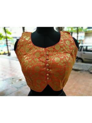 Light Peach Color Soft Brocade Designer Blouse With Back Buttons