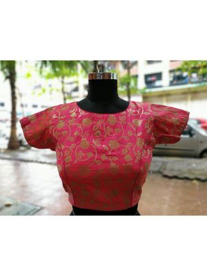 Pink Color Soft Brocade Designer Blouse With Back Buttons