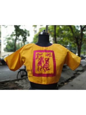 Yellow Coloured Based Warli Embroidered With Goldn Coloured Designer Blouse