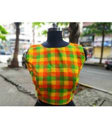 Green And Orange Checks Pattern Sleeveless Blouse With Attractive Fabric Latkans At Backside