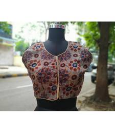 Grey Colored Based Flower Design Cotton Blouse