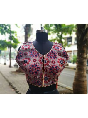 Grey Colored Based Red And Blue Flower Design Cotton Blouse