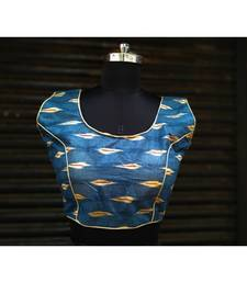 Blue Colored Based Designer Cotton Blouse With Round Neck