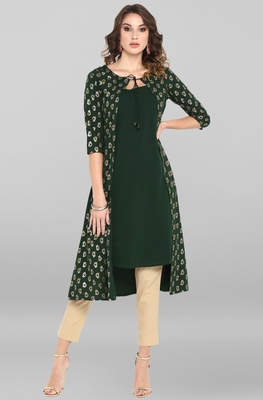 Dark-green printed crepe ethnic-kurtis