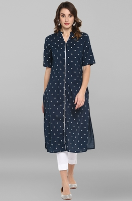 Blue printed cotton ethnic-kurtis