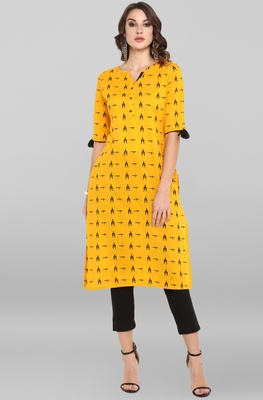 Mustard printed cotton ethnic-kurtis