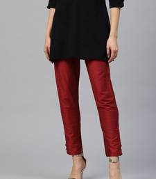 Red Polysilk Solid Trouser