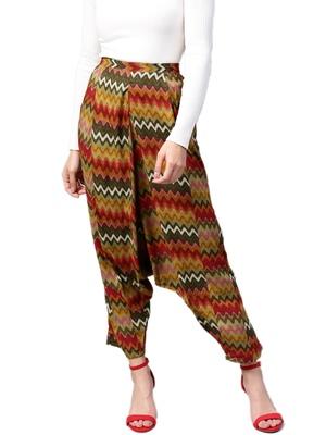 Women Olive Green & Multi Rayon Zig-Zag Harem Pants