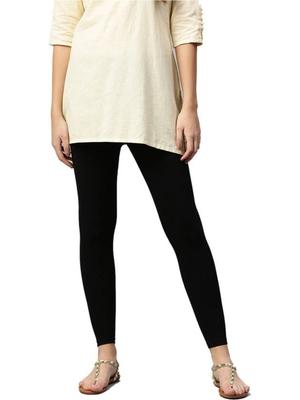 Women Black Cotton Lycra Solid Legging