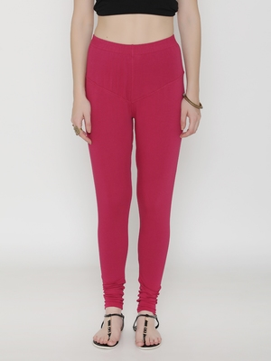 Women Fuschia Cotton Lycra Solid Legging