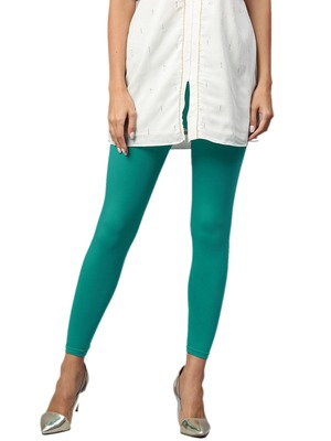 Women Teal Cotton Lycra Solid Legging