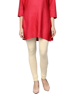 Women Off-White Cotton Lycra Solid Legging