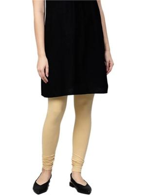 Women Beige Cotton Lycra Solid Legging