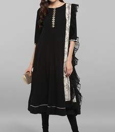 Black plain crepe ethnic-kurtis