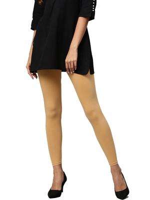 Beige Cotton Lycra Solid Legging