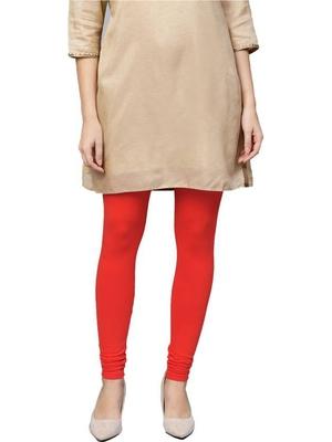 Women Red Cotton Lycra Solid Legging