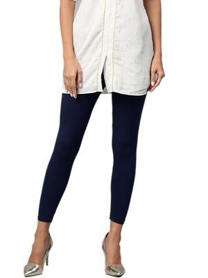 Navy Cotton Lycra Solid Legging