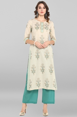 Off-white printed cotton ethnic-kurtis