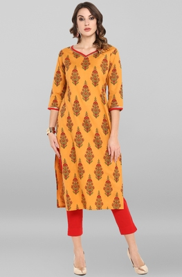 Orange printed cotton ethnic-kurtis