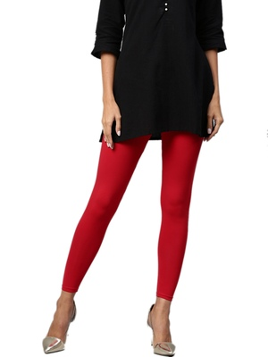 Red Cotton Lycra Solid Legging