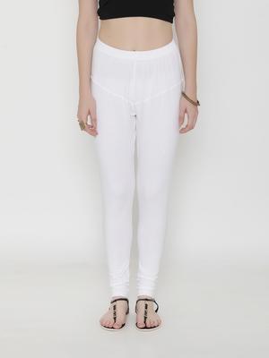 White Cotton Lycra Solid Legging