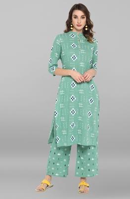 Sea-green printed cotton ethnic-kurtis