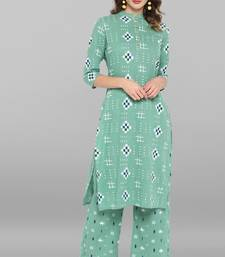 Sea-green printed cotton ethnic-kurtis