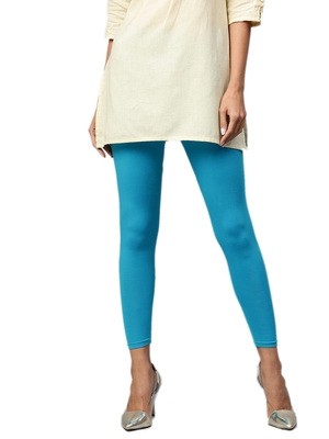 Turquoise Cotton Lycra Solid Legging