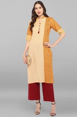 Yellow printed cotton ethnic-kurtis